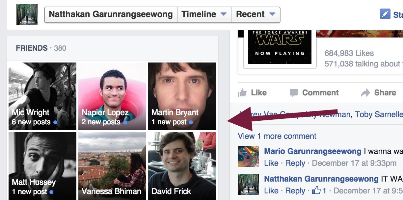 ¿Qué amigos hicieron nuevas publicaciones en Facebook?