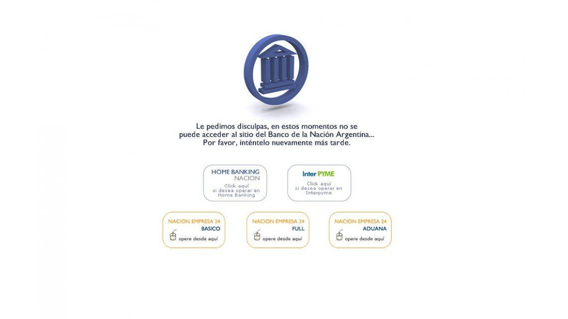 Tras una hora caída, la página del Banco Nación informa que el dólar está a $13,95