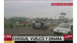 Un muerto tras choque y vuelco en Panamericana