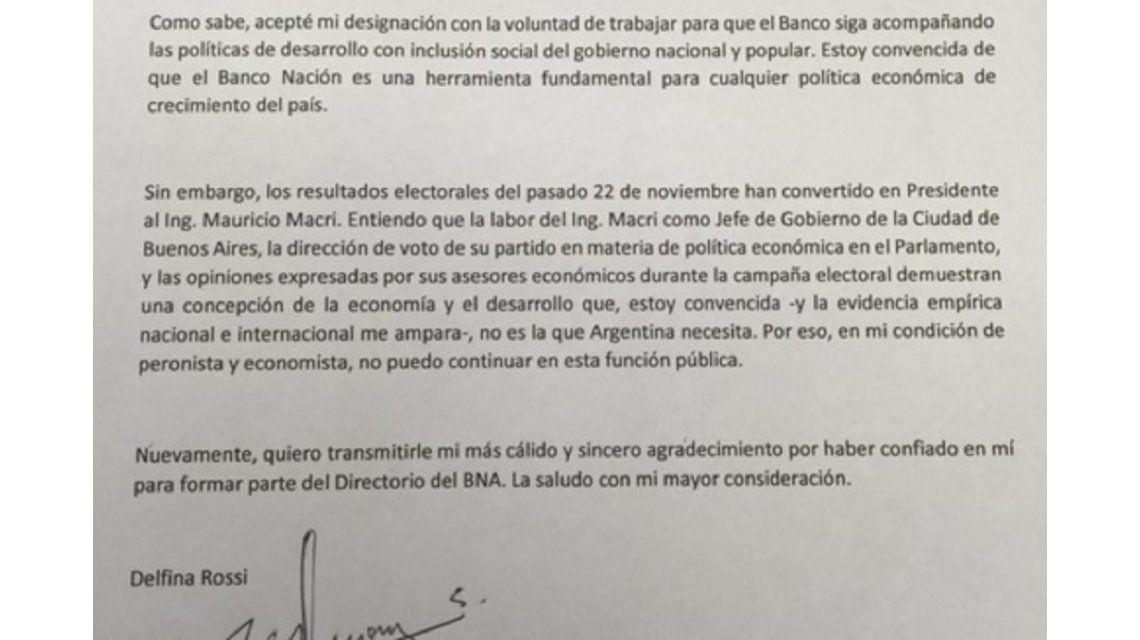 La carta que Delfina Rossi le envió a Cristina Kirchner tras renunciar al Banco Nación