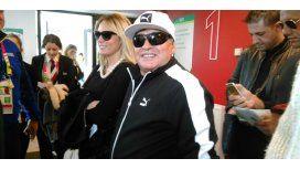 Diego Maradona fue un hincha más en el estadio alentando a Los Pumas