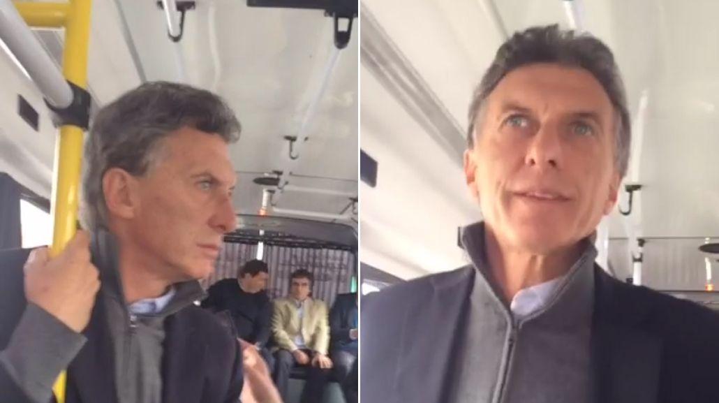 ¿La primera vez? Macri se subió a un colectivo para inauguar un Metrobus
