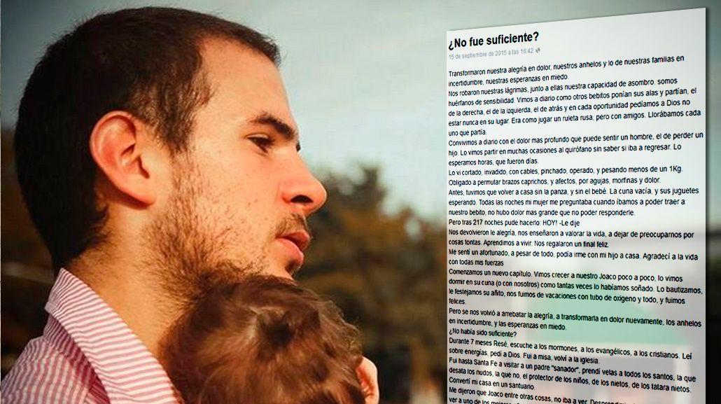 Emotiva carta de un padre en Facebook: el bebé nació prematuro y lucha por su vida