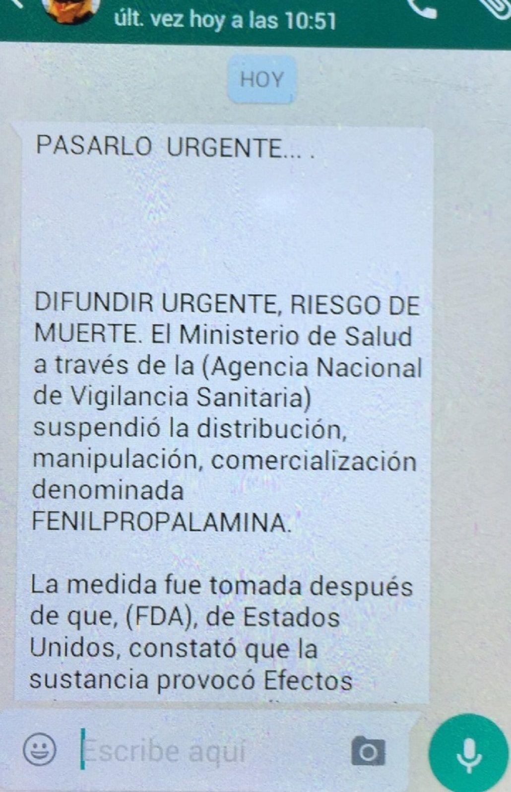 Un viral de WhatsApp alerta sobre un droga prohibida en el país hace 15 años