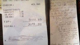 Dejó US$3000 de propina en un restaurante