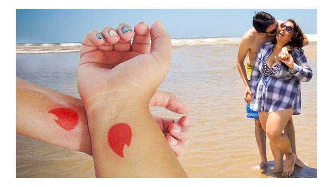 Una pareja se tatúa el logo de Tinder porque se formó gracias a esa aplicación