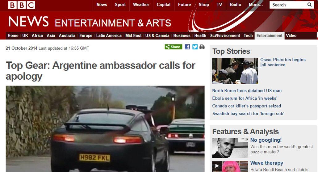 Así reflejó la BBC la queja de la Argentina tras la provocación de Top Gear