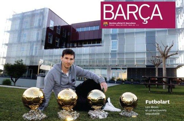 Lionel Messi, de modelo junto a sus cuatro Balones de Oro