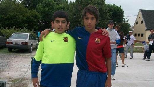 Nahuel Molina Lucero y Simón López cuando entrenaban en el proyecto Barcelona Argentina en La Candela