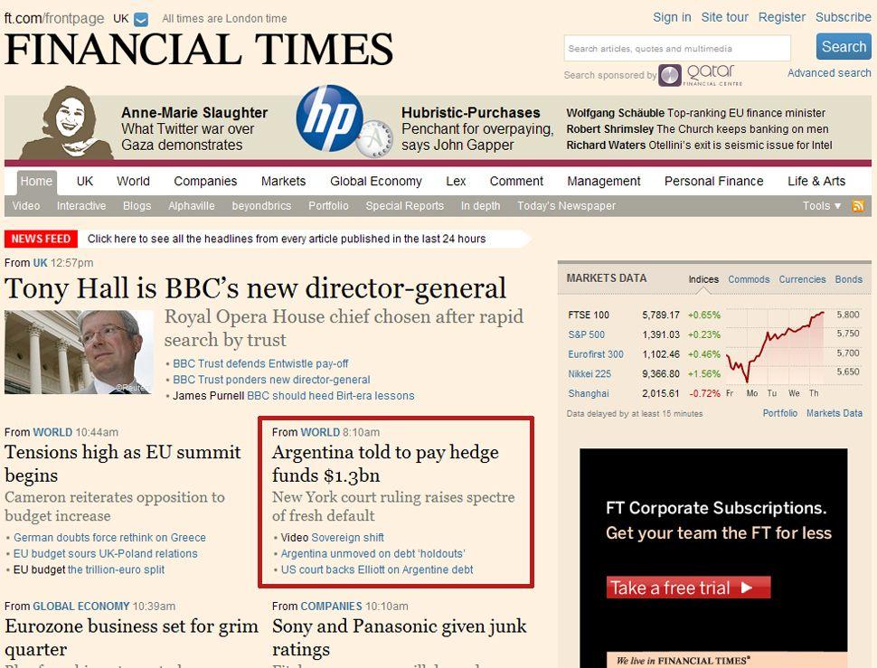 El Financial Times advierte por un nuevo default en Argentina