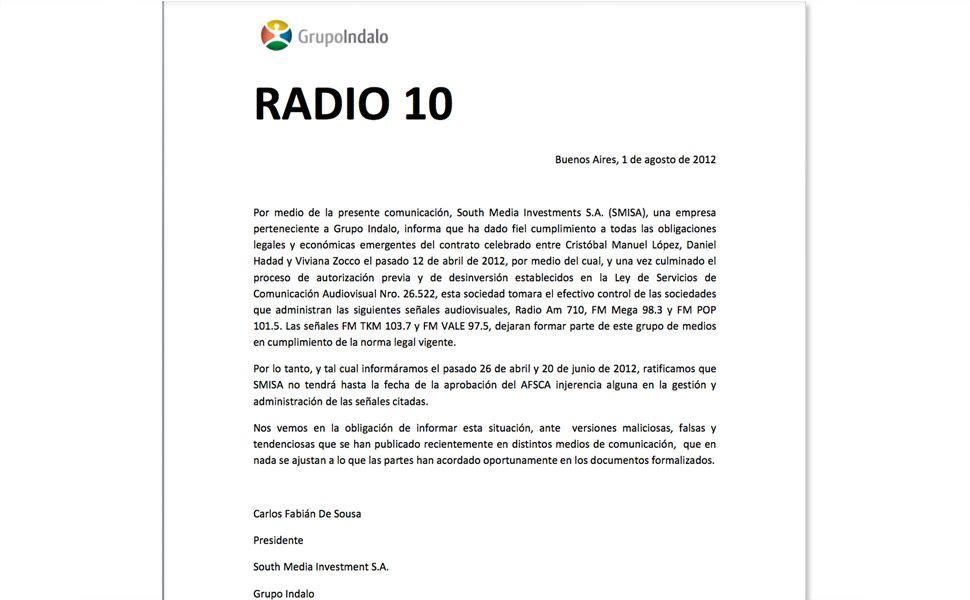 Comunicado del Grupo Indalo sobre Radio 10