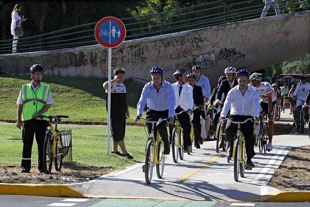 Macri en bicicleta