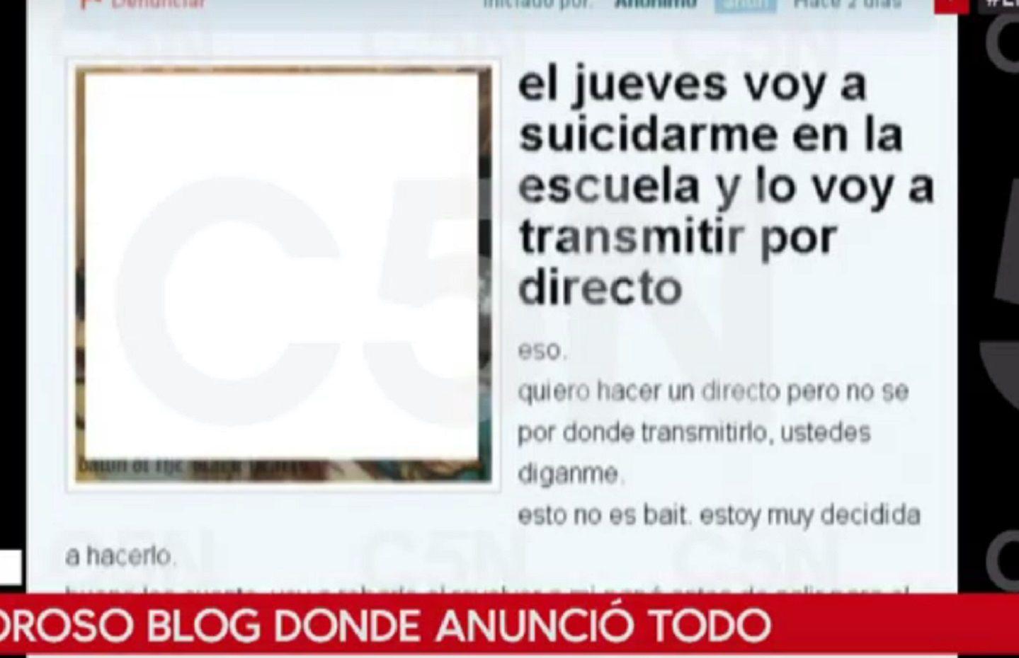 La joven que se pegó un tiro en La Plata lo había anticipado en un blog