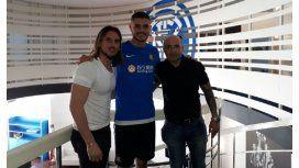 Beccacece, Icardi y Sampaoli en el predio del Inter. (Foto de archivo)