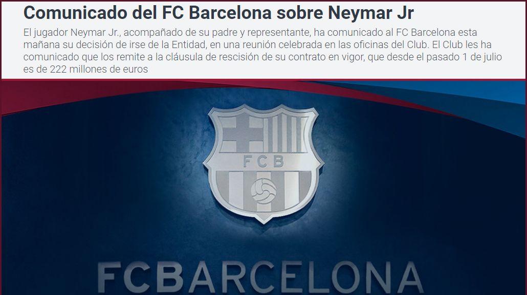 Comunicado del Barcelona por la posible salida de Neymar