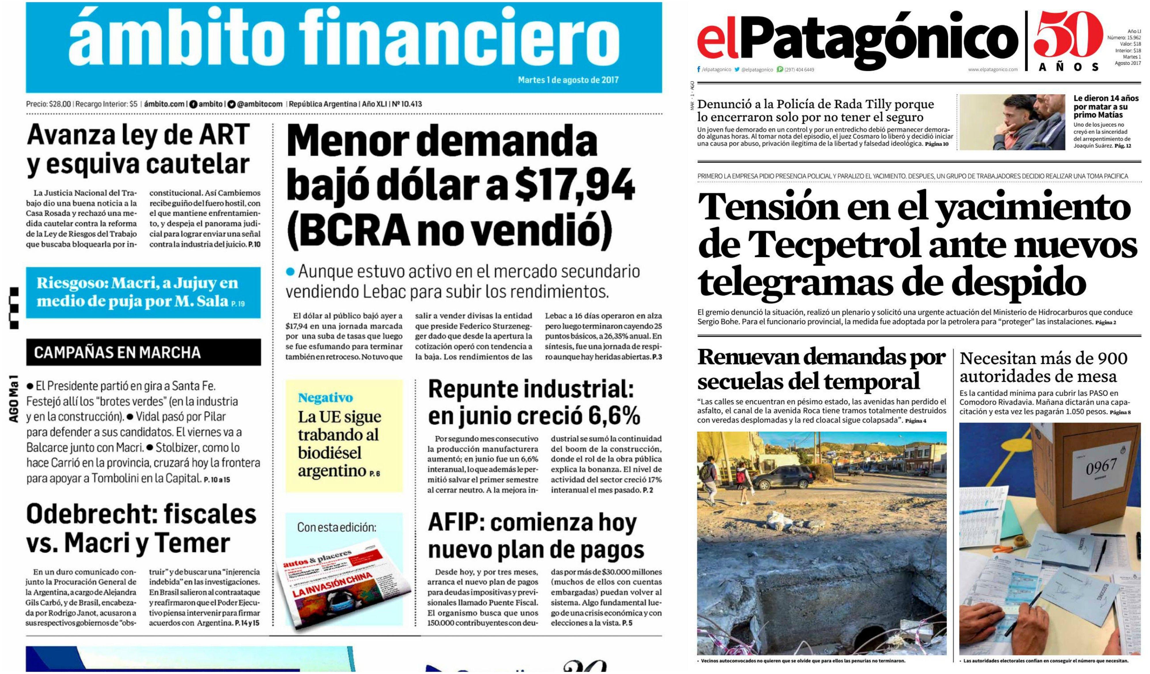 Tapas de diarios del martes 1 de agosto de 2017