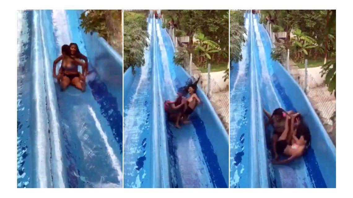 Tres chicas tuvieron un accidente en un tobogán acuático