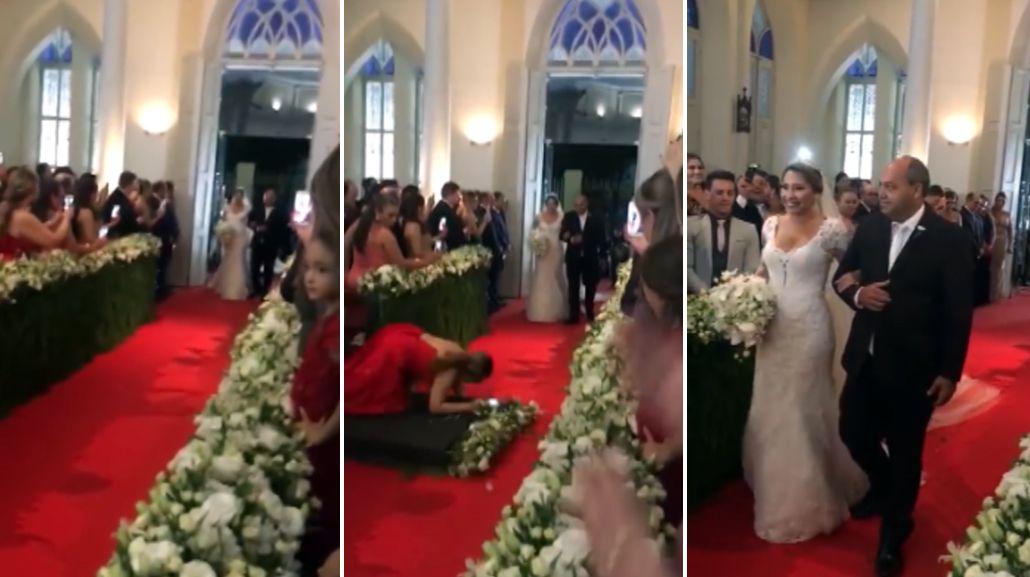 Se cayó en el medio de la entrada de los novios y se volvió viral