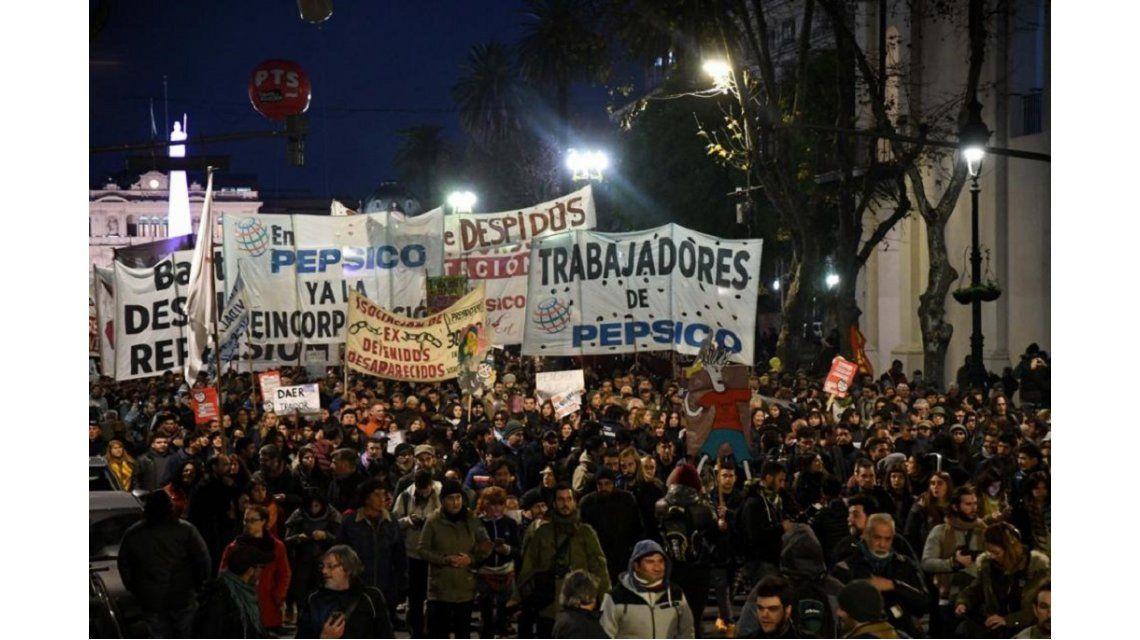 Marcha de trabajadores de Pepsico