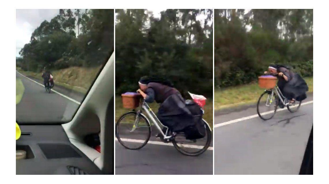 Una monja a toda velocidad en bici se vuelve viral