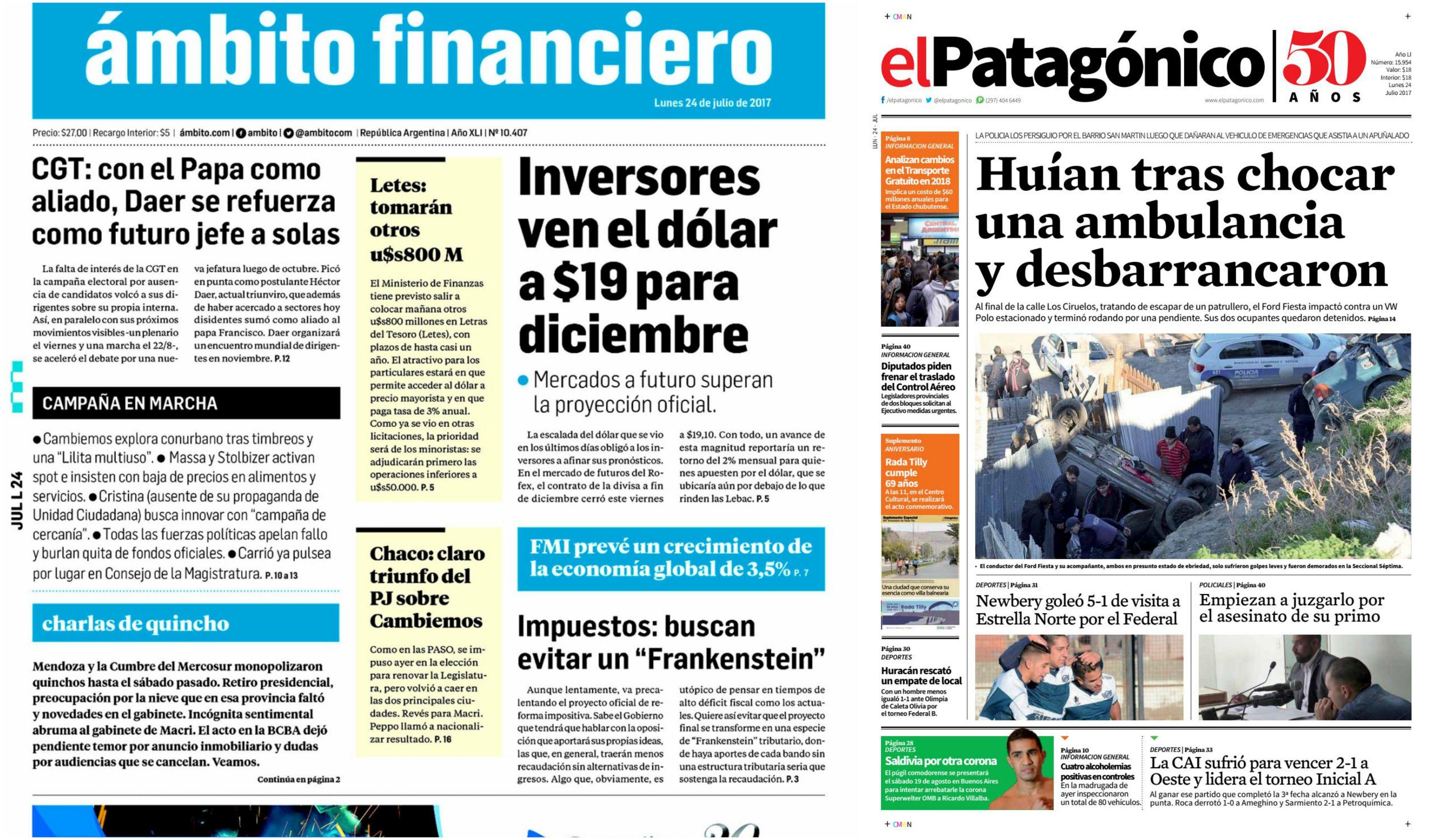 Tapas de diarios del lunes 24 de julio de 2017