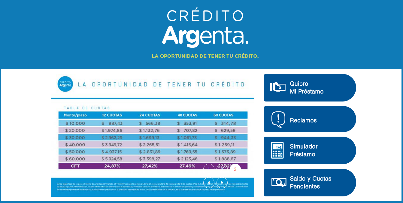 A esta página se accede para obtener los créditos Argenta