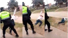 Un policía le dio una trompada a un joven que lo desafió