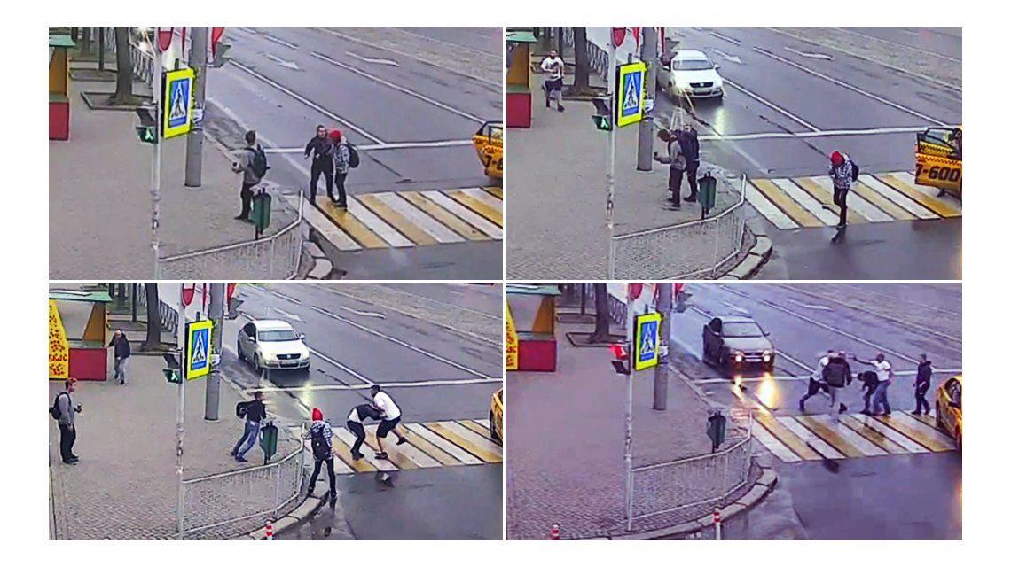 Un hombre se bajó de un taxi y golpeó a una mujer