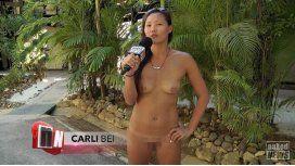 Entrevistadora se mete en un campo nudista swinger
