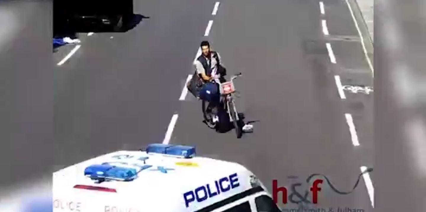 Robó un baúl y lo pisó la policía con el auto