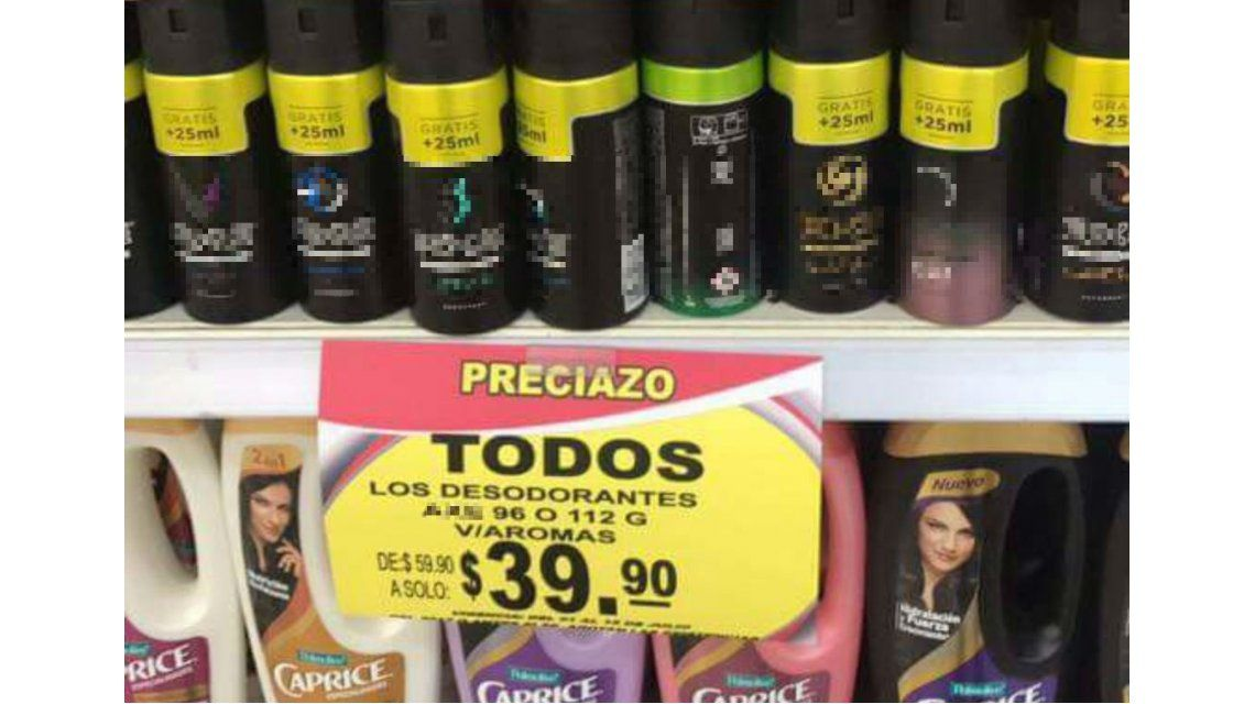 Error letrero supermercado desodorantes mexico