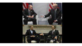 Vladimir Putin y Donald Trump arriba y Frank Underwood con su par ruso abajo.