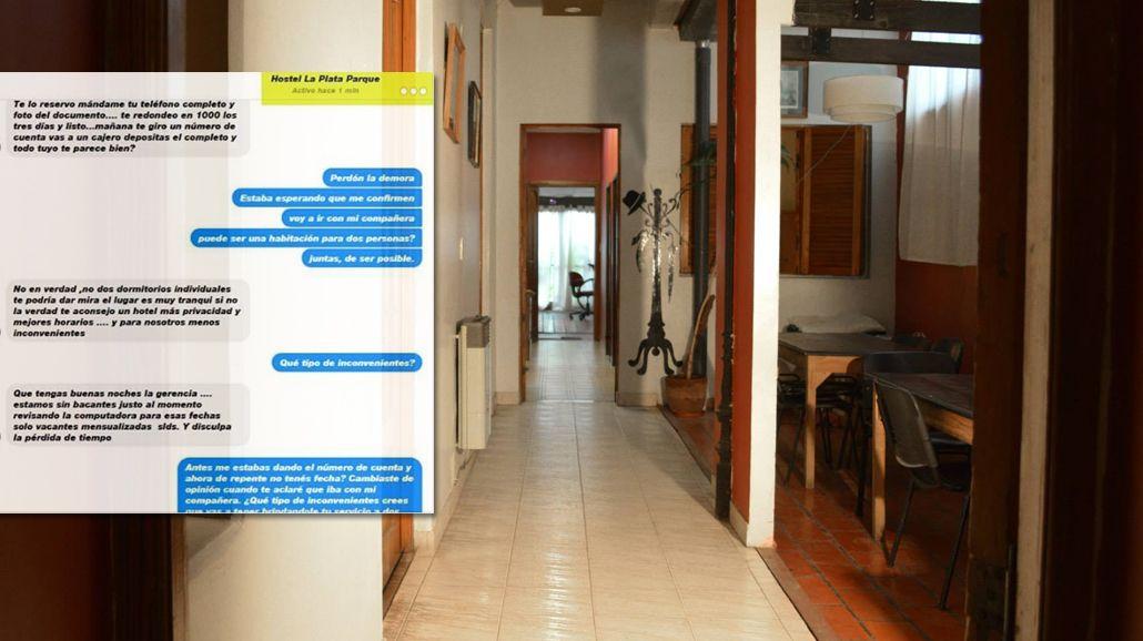 Los mensajes de la joven con el hostel