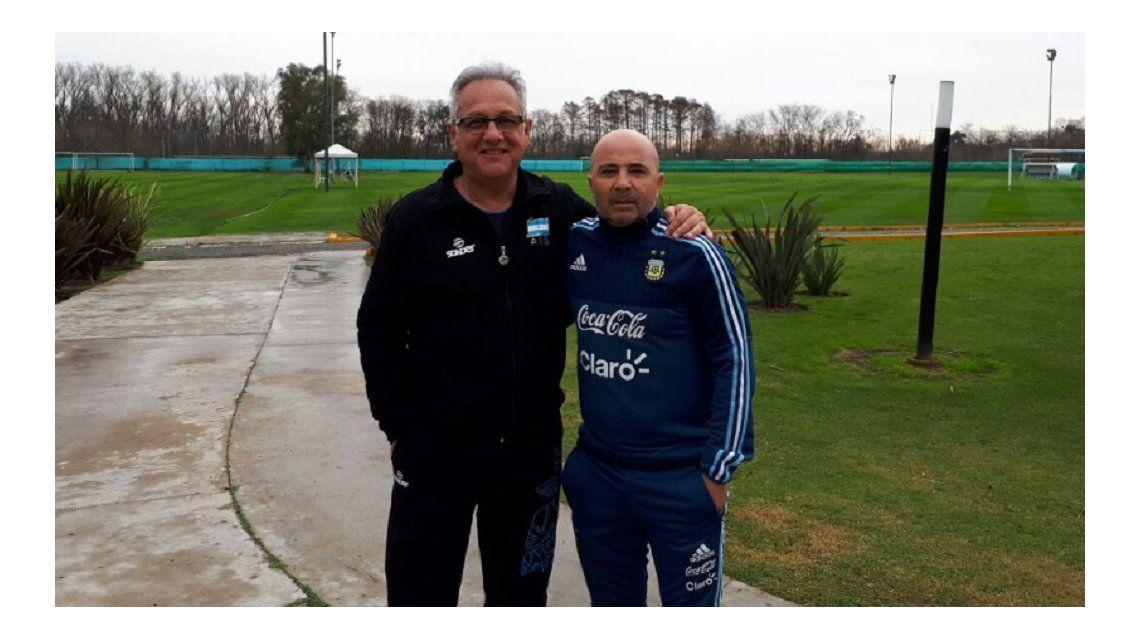 La foto del encuentro entre los dos entrenadores
