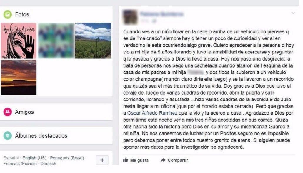 El posteo de la mamá en Facebook