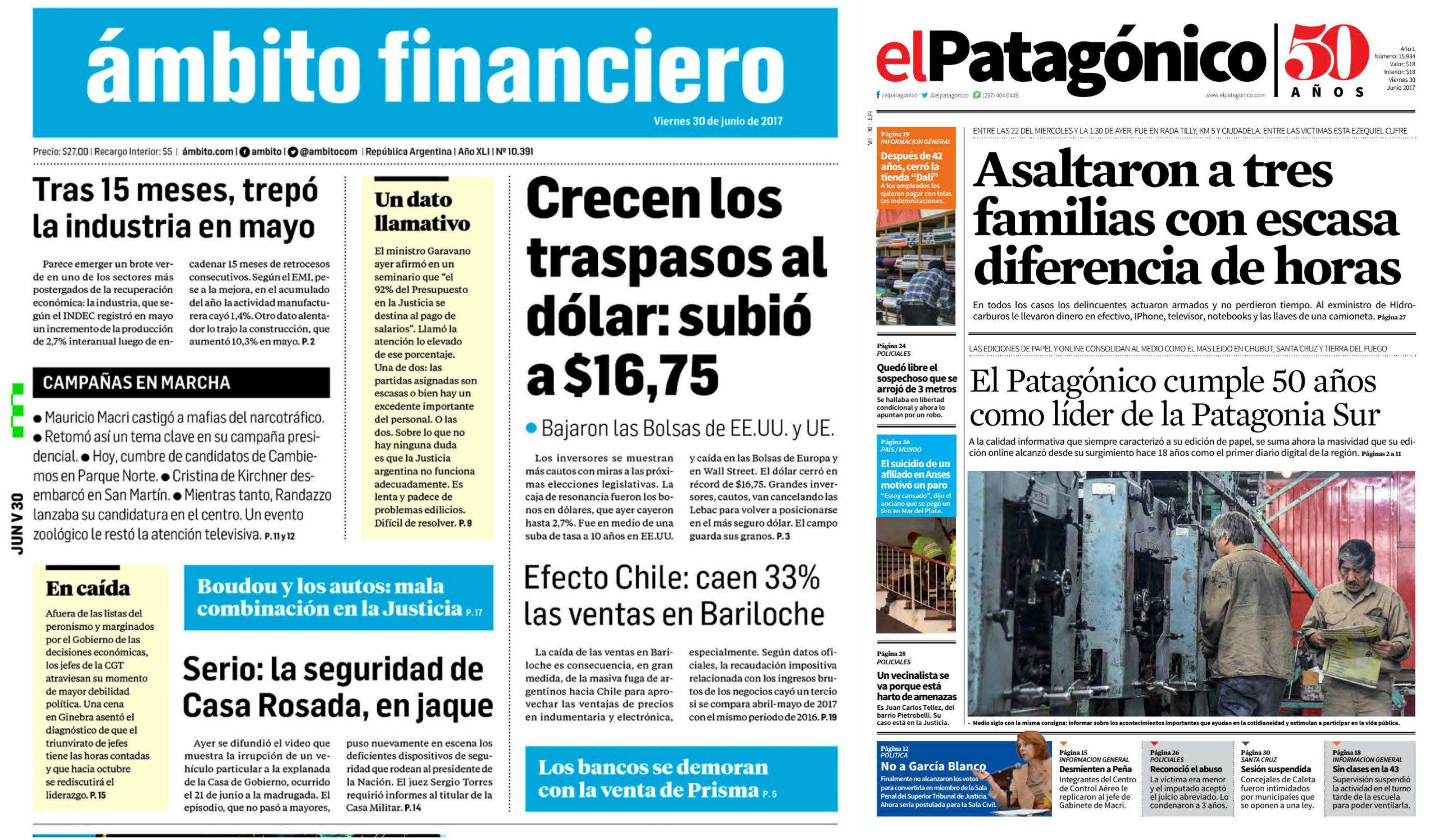 Tapas de diarios del viernes 30 de junio de 2017