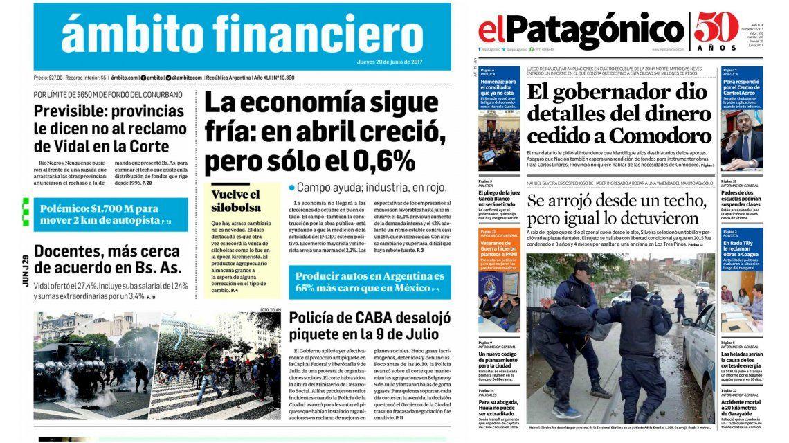 Tapas de diarios del jueves 29 de junio de 2017