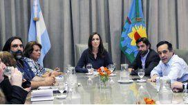 María Eugenia Vidal en la única reunión con docentes de la que participó.