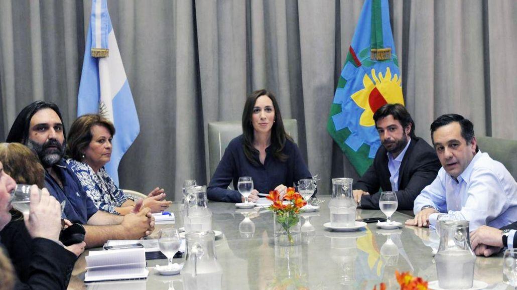 María Eugenia Vidal en la única reunión con docentes de la que participó.<br>