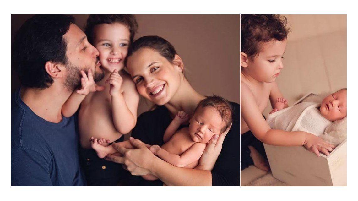 Germán Paoloski y Sabrina Garciarena posaron con sus hijos