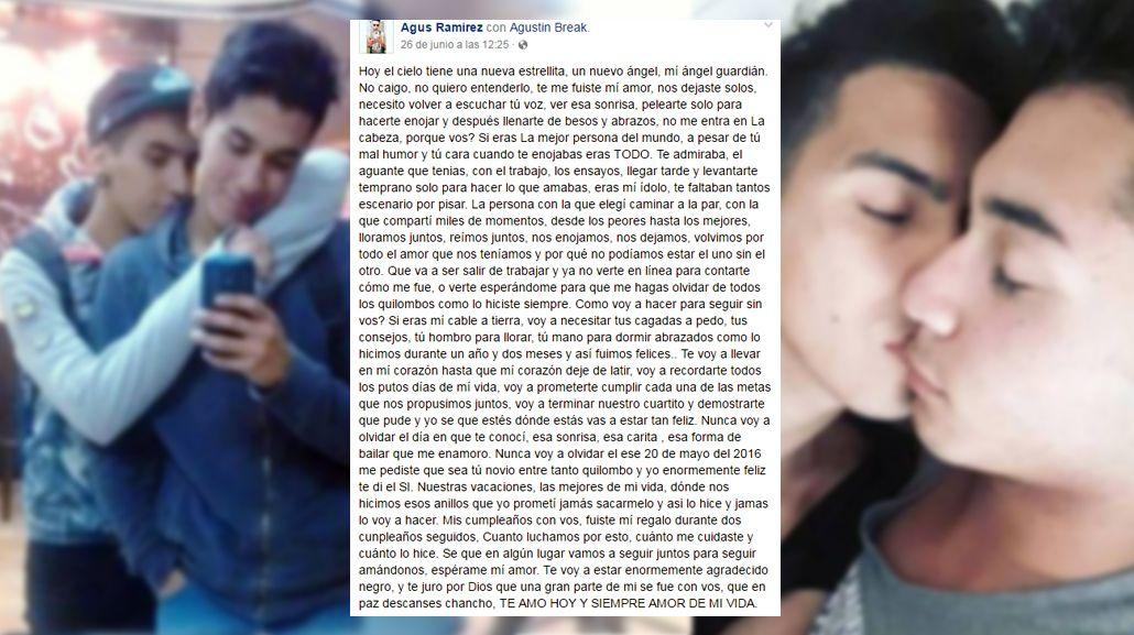 Agustín le escribió una carta a su novio fallecido en la Tragedia de Mendoza