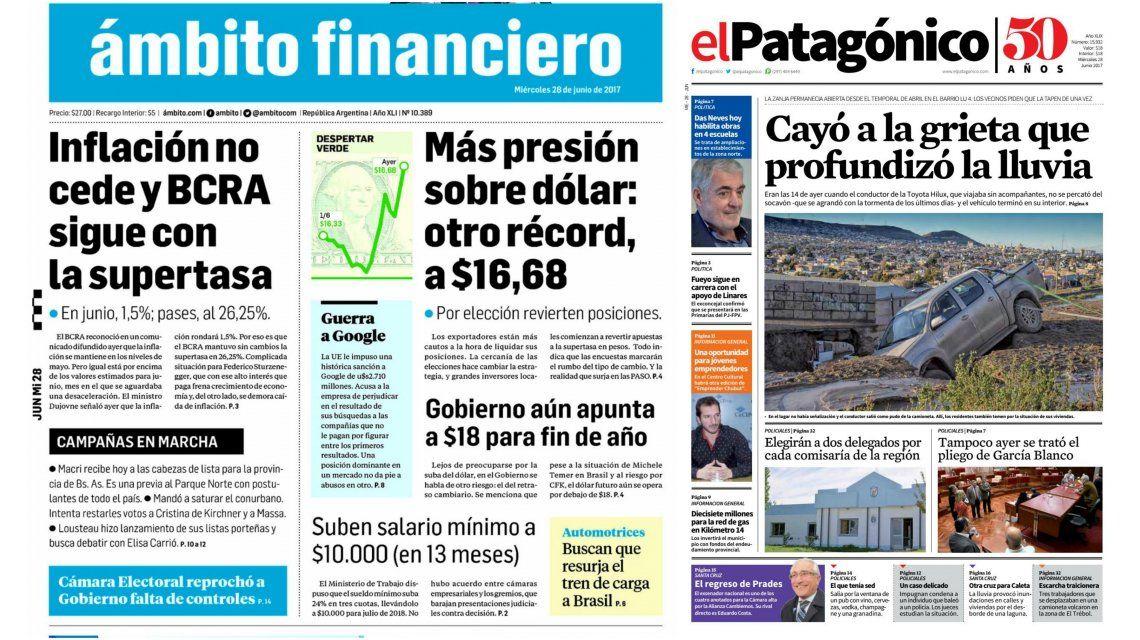 Tapas de diarios del miércoles 28 de junio de 2017