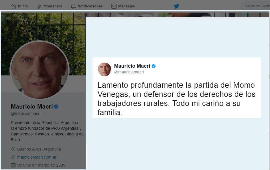 Mensaje de Macri por la muerte del Momo Venegas