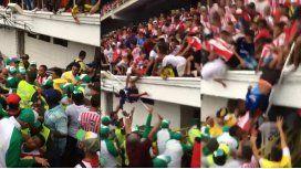 Hinchas cayeron desde una tribuna en la presentación de Teo Gutiérrez en Metropolitano