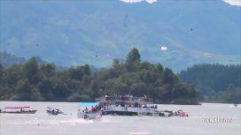 VIDEO: El momento del hundimiento del barco en Guatapé