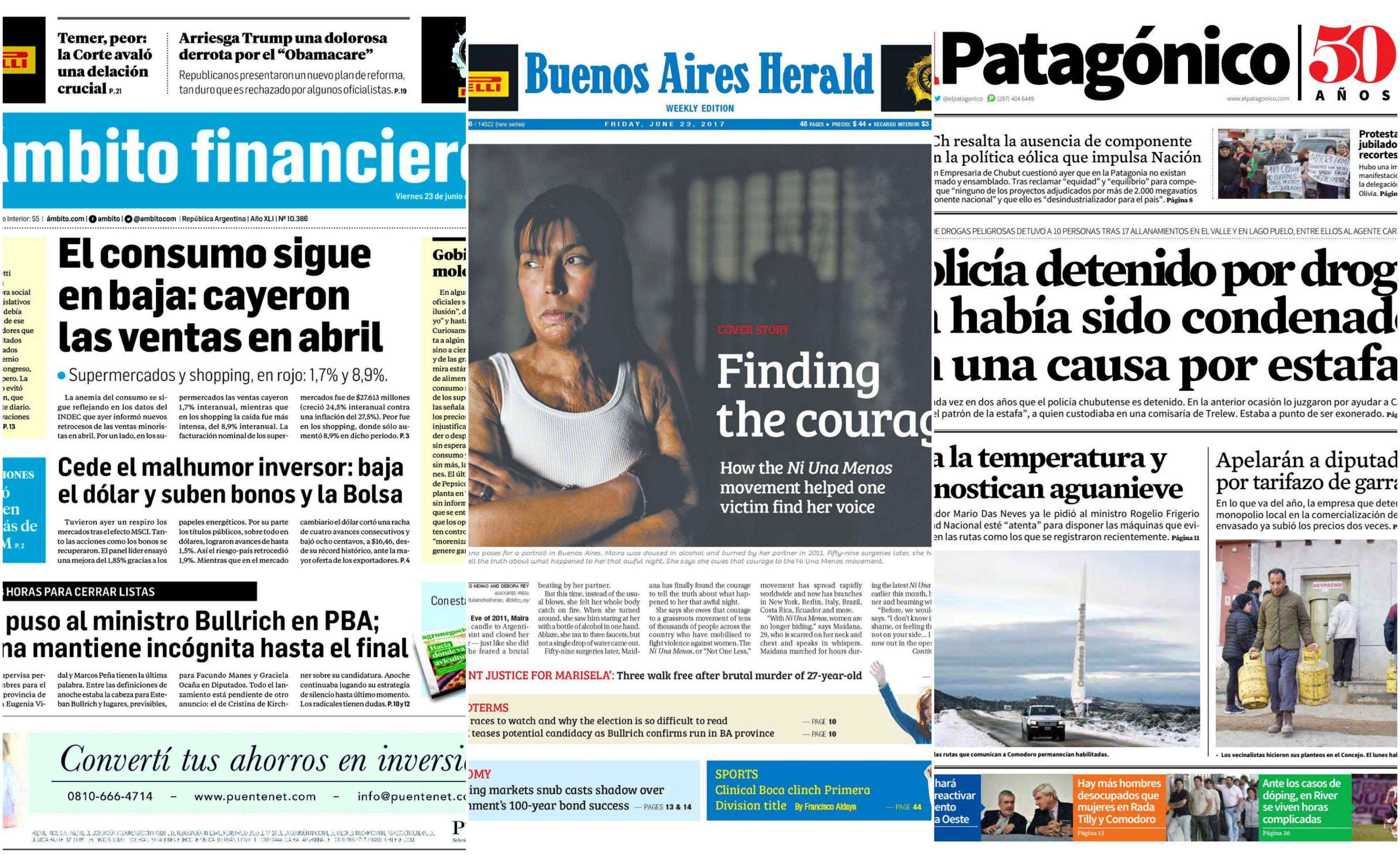 Tapas de diarios del viernes 23 de junio de 2017