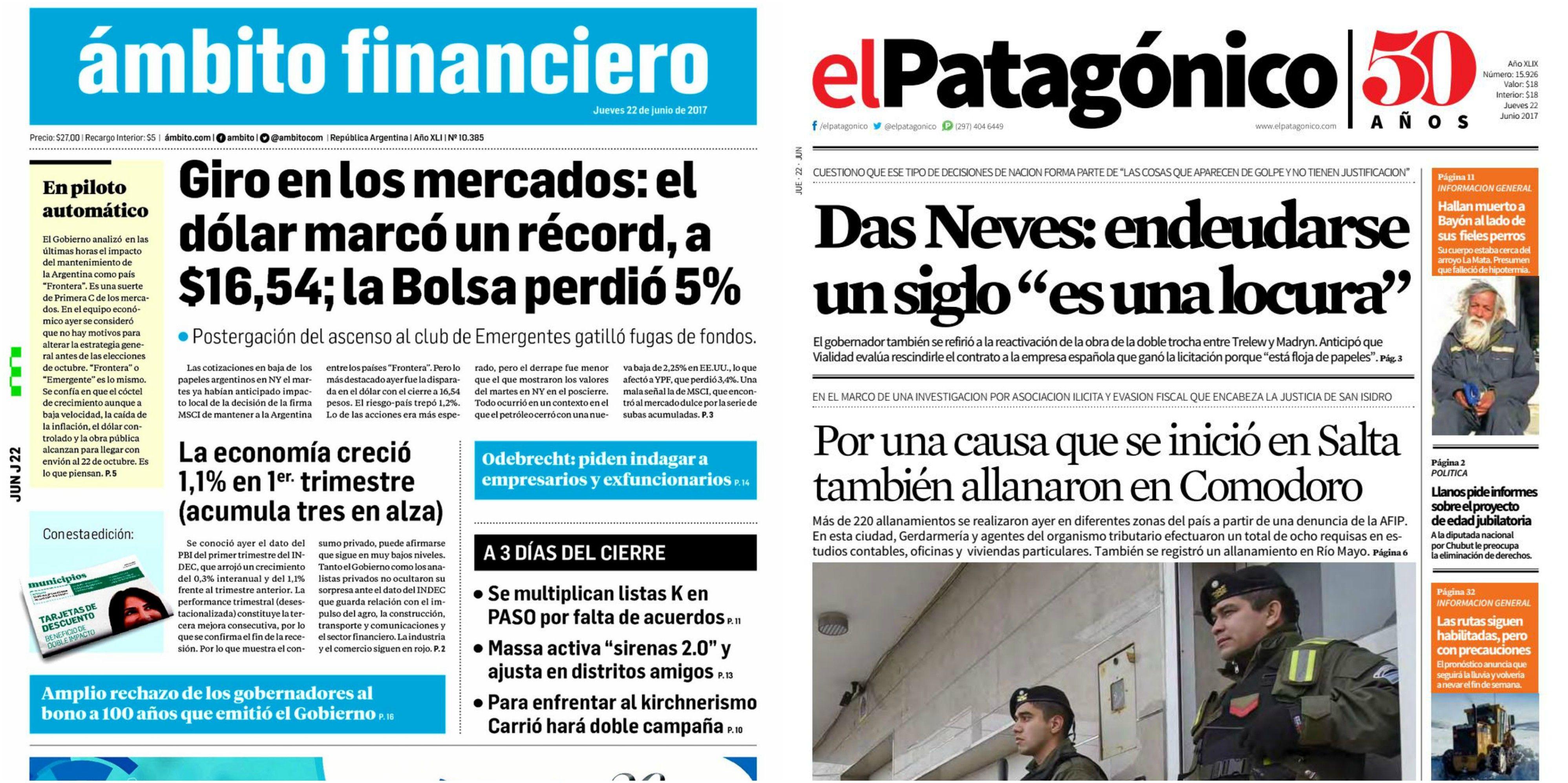 Tapas de diarios del jueves 22 de junio de 2017