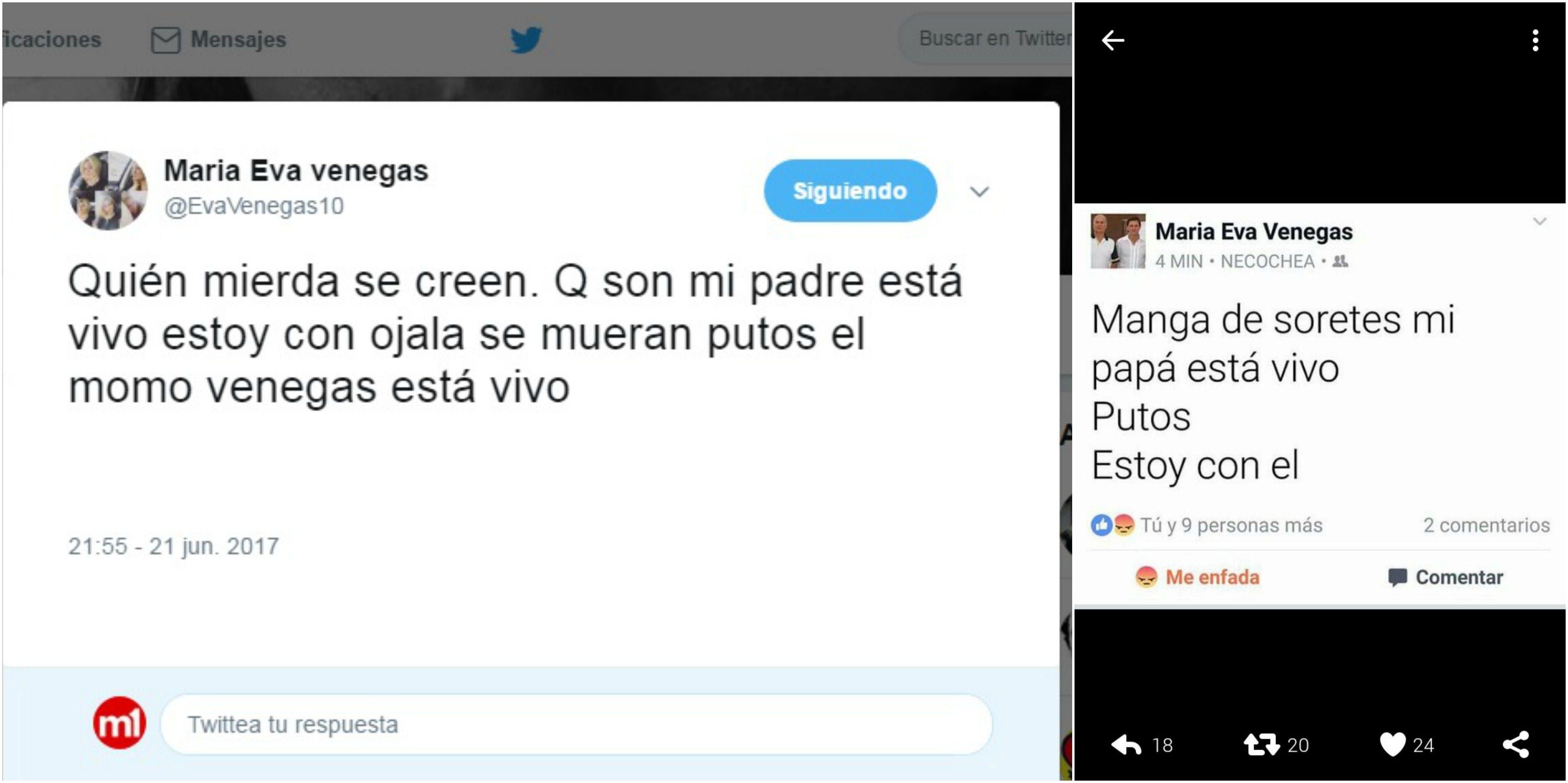 Redes sociales de María Eva Venegas
