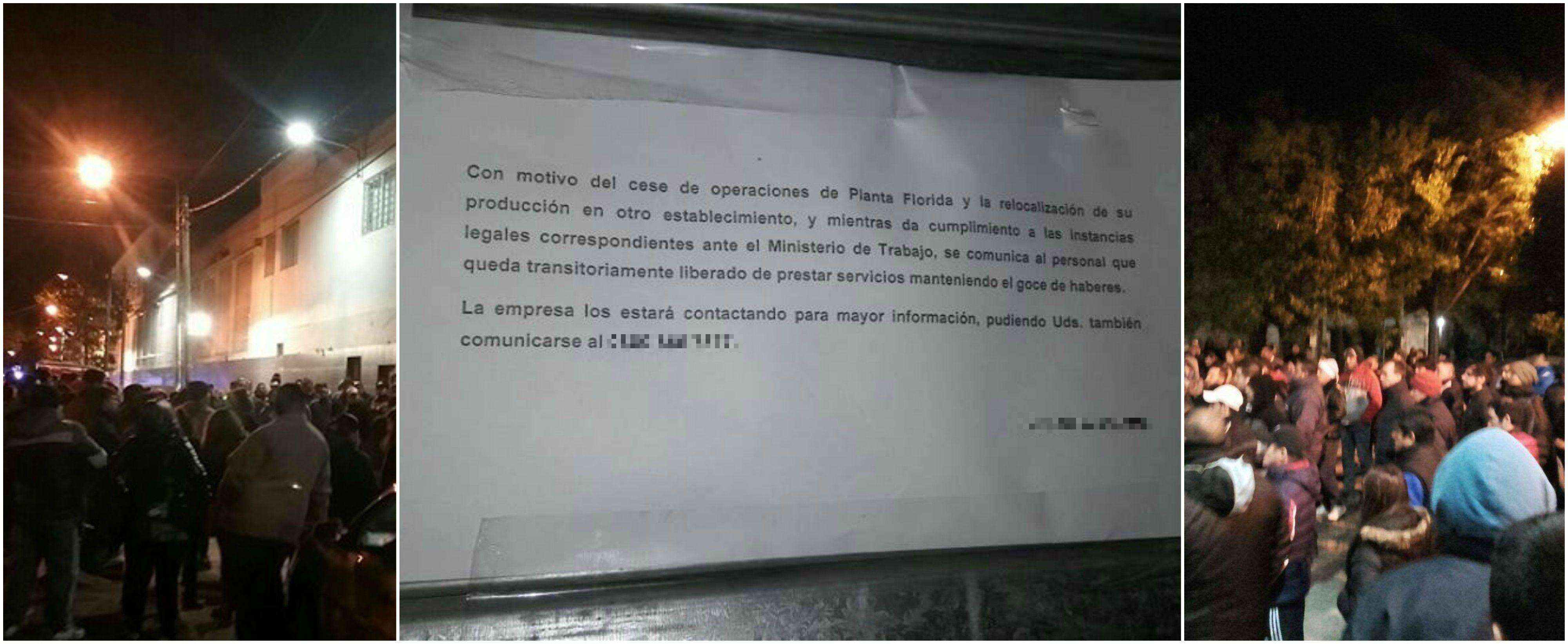 Trabajadores denuncian el cierre de una planta alimenticia