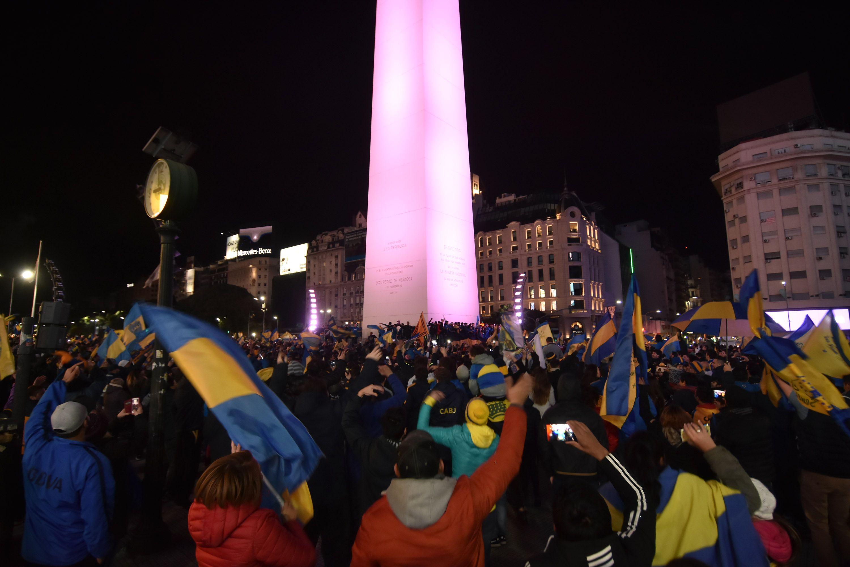 Festejos de Boca en el Obelisco